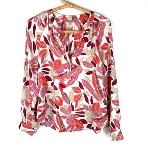 Banana Republic S Floral Blouse Pink Red White